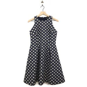 Asos Polka Dot Fit & Flare Scuba Midi Dress Size 8